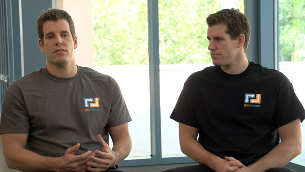 The Winklevoss twins in The Rise and Rise of Bitcoin (Gravitas Ventures)