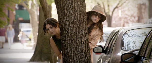 Alia Shawkat, left, and Sophia Takal searching for clues in Wild Canaries (Sundance Selects)