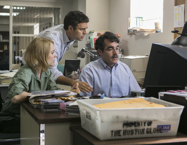 From Left, Rachel McAdams, Mark Ruffalo, and Brian d'Arcy James in Spotlight (Kerry Hayes/Open Road)