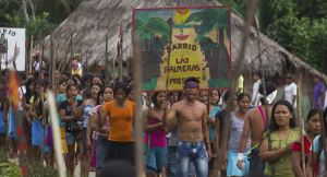 Peru's indigenous Amazonian people protest in When Two Worlds Collide ((Jack Weisman/Yachaywasi Films)