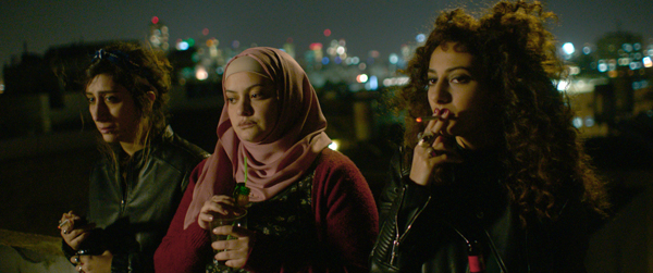 From left, Sana Jammelieh, Shaden Kanboura, and Mouna Hawa in In Between (TIFF)