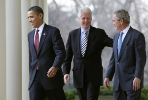 From left, President Barack Obama, former President Bill Clinton, and former President George W. Bush on January 16, 2010 (Mark Wilson/Getty Images)