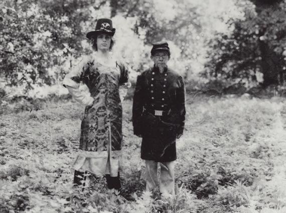 Jonathan Franklin Hale (Matthew Ludwinski), left, and Genreal Li Shao-zu (Feng Tien Lui) in THE BATTLE OF PUSSY WILLOW CREEK (WideSphere Films)